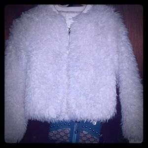 White fuzzy jacket